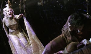 Laura Michelle Kelly as Galadriel and James Loye as Frodo in the 2007 adaptation of The Lord Of The Rings at the Theatre Royal, Drury Lane.
