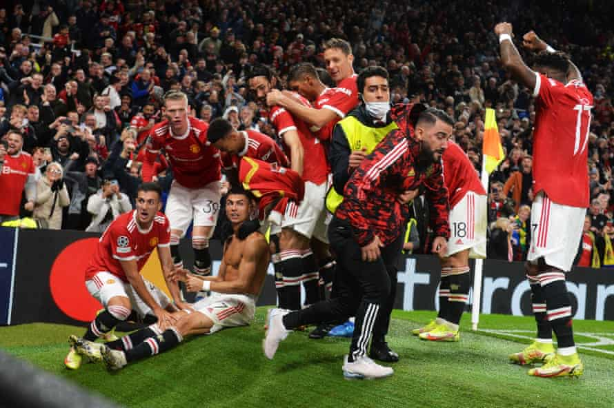 Cheerful scenes at Old Trafford, earlier.