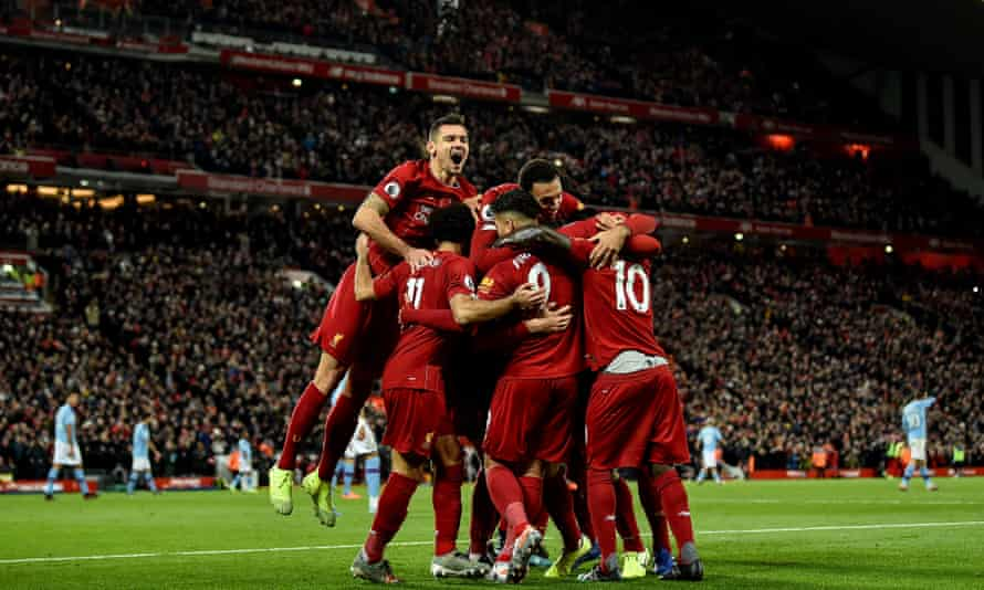 Liverpool celebrate Sadio Mané's opener in their 3-1 win against Manchester City in November 2019