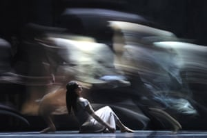 Dancers from English National Ballet rehearse for Akram Khan's production of Giselle at the Bolshoi theatre, Moscow.