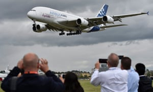 An Airbus A-380 lands at an airshow
