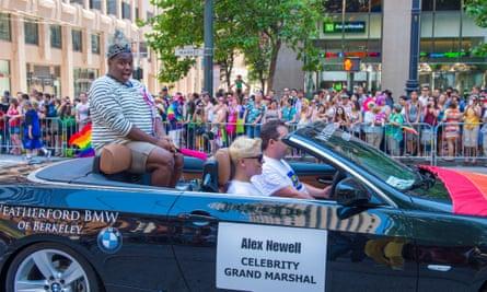 Glee actor Alex Newell at San Francisco's gay pride parade in 2013.