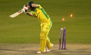 The bails fly as Maxwell is bowled by Woakes for one.