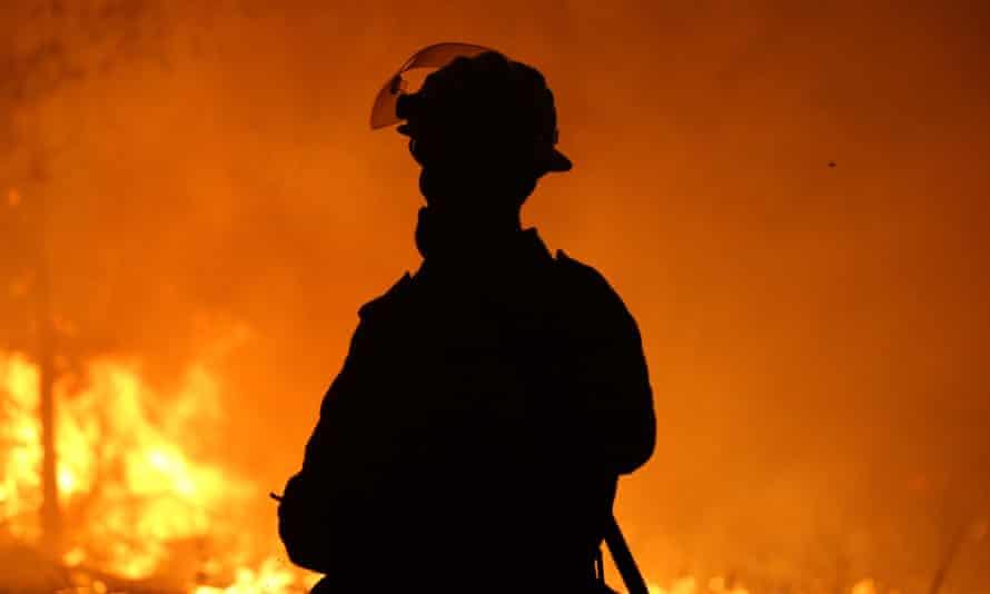 A firefighter near Potato Point on NSW south coast on 23 January.