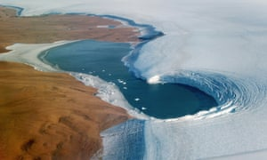 Summer snowmelt along the flank of Greenland's Humboldt Glacier exposes layers of ice from ancient climate periodsepa07875699 A handout photo made available by NASA shows an aerial view of a lake bounded to the left by Washington Land, a deglaciated peninsula that juts into the Kane Basin, and at right by the Humboldt Glacier, Greenland's widest marine-terminating glacier, 04 September 2019 (issued 28 September 2019). The image was taken by John Sonntag, a scientist at NASA's Goddard Space Flight Center, during an airborne campaign for NASA's Operation IceBridge. The flight was one of 11 flown in September 2019 on NASA's Gulfstream-V to measure summer melting on Greenland. The measurements will be compared to those collected during the IceBridge campaign in spring 2019, and with measurements from the new Ice, Cloud and land Elevation Satellite-2 (ICESat-2), which launched one year ago. EPA/JOHN SONNTAG/OPERATION ICEBRIDGE/NASA HANDOUT HANDOUT EDITORIAL USE ONLY/NO SALES