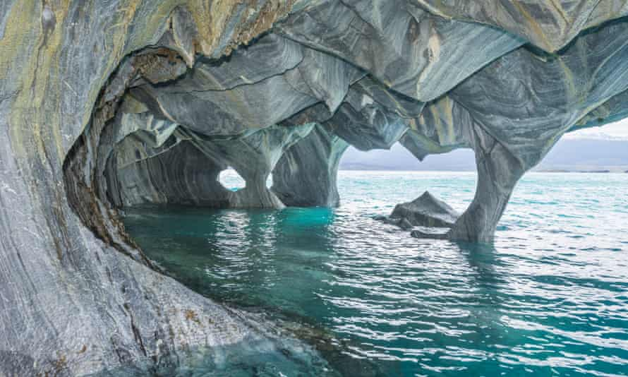 Marble Caves, General Carrera Lake, Puerto Tranquilo, Aysen Region, Chile<br>EBMM7F Marble Caves, General Carrera Lake, Puerto Tranquilo, Aysen Region, Chile