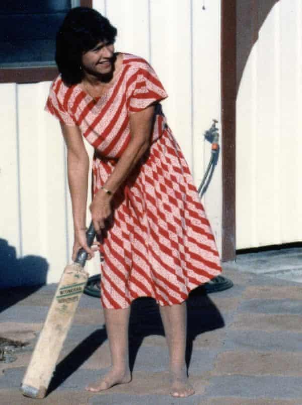 Gina Wilkinson's mother, Carol, playing backyard cricket.
