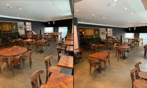 'Even now it's not two metres': before and after pictures of a reduced seating plan at Kala restaurant in Manchester