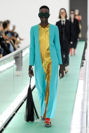 Model on the catwalk for the Gucci show during Milan Fashion Week