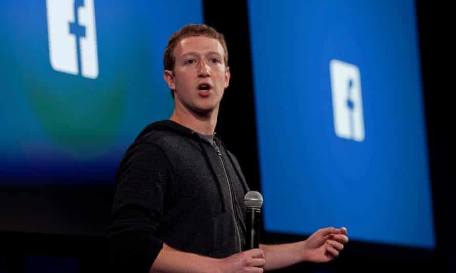 Mark Zuckerberg speaking at the Facebook headquarters in Menlo Park, California.