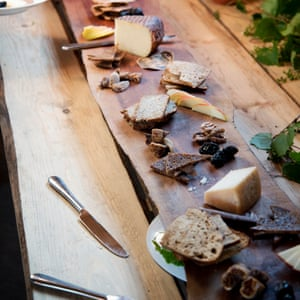 Rather dishy … Saturday night dinners from chef Jamie Kennedy are a regional highlight. Here a long, rectangular wooden serving platter is filled with bread, meat and cheeses.