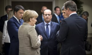 L to R: Matteo Renzi, Angela Merkel, François Hollande and David Cameron at a Nato summit in 2014.