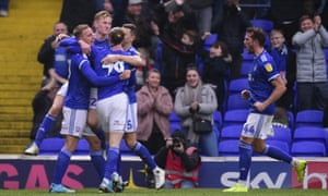 Ipswich Town's Luke Woolfenden celebrates after putting his side ahead against Lincoln City.