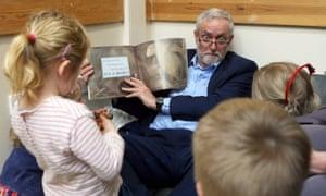 Jeremy Corbyn reading story to schoolchildren