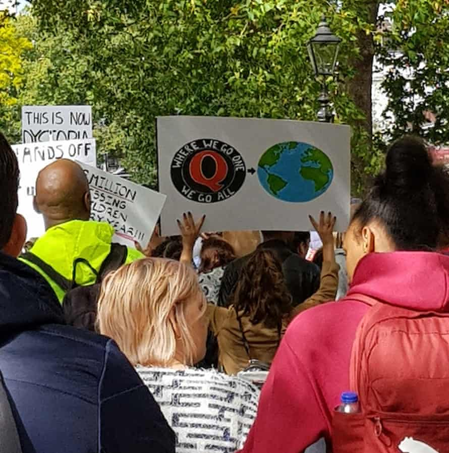 QAnon signs displayed at a Freedom for the Chlidren event in London