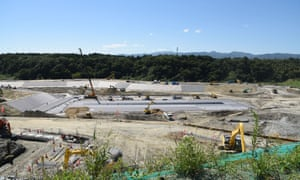 Okuma's interim-storage site for radioactive soil collected from across Fukushima prefecture. The government plans to move the soil to a permanent site outside Fukushima after 30 years, but has so far failed to find one.