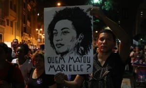 A demonstration in Rio in memory of Marielle Franco in March. The poster reads: 'Who killed Marielle?'