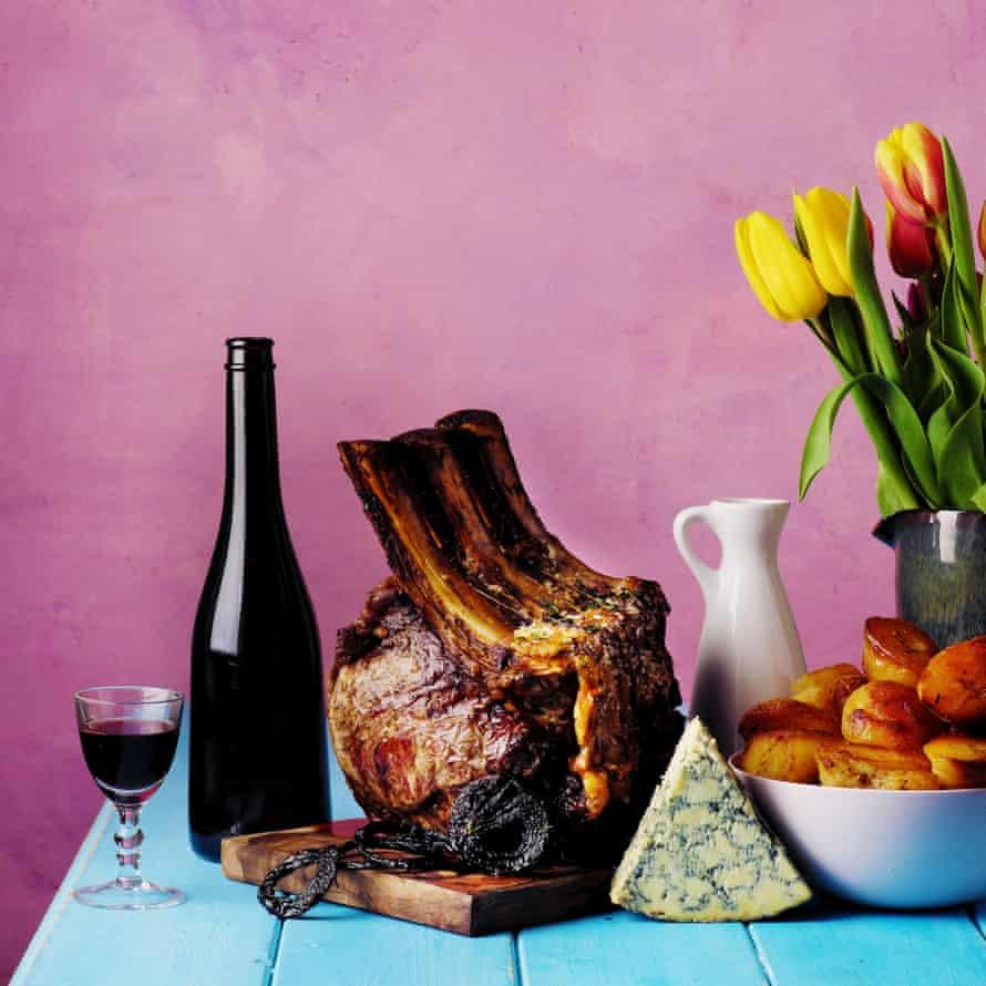 Roast rib of beef with port and stilton gravy.
