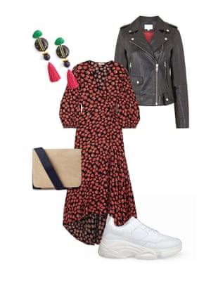 Harriet Green Editor, Observer Magazine: 'Toughen up delicate florals with a leather jacket and chunky trainers.' Dress, £220, Ganni, net-a- porter.com. Jacket, £375, finerylondon.com. Trainers, £155, essentiel-antwerp.com. Bag, £79, cosstores.com. Earrings, £49, uterque.com