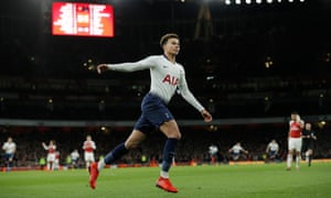 Dele Alli celebrates after his sublime finish over Petr Cech sealed Tottenham's place in the Carabao Cup semi-finals as the expense of Arsenal.