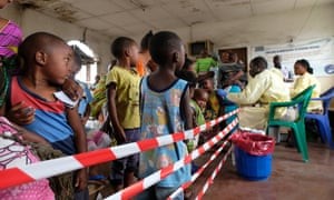 Waiting line at the measles vaccination site in Goma.