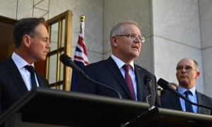 Health minister Greg Hunt, prime minister Scott Morrison and deputy chief medical officer Paul Kelly