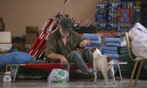 An resident evacuated from the massive Rocky Fire wakes up at the Moose Lodge on Tuesday