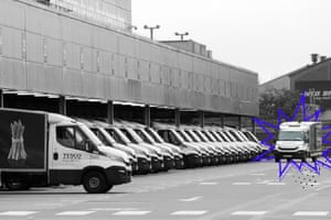 Tesco delivery vans leaving their depot.