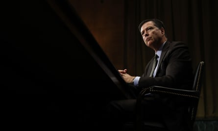 Former FBI director James Comey testifies on Capitol Hill in Washington before a Senate judiciary committee hearing.