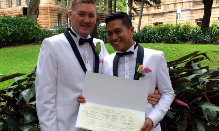 Thomas Sharpe and Koko Firman Ariyanto, who became the 200th couple to marry in an Australian UK consulate.
