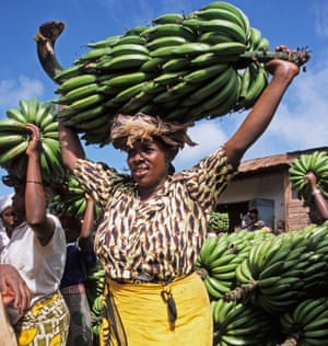 A woman carries cooking bananas in Tanzania.