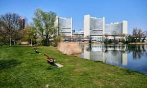 A view of UNO-City, Vienna International Center (VIC) with an empty park, in Viennacon April 03, 2020.