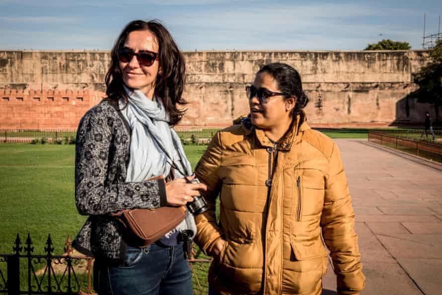 Sana (right) leads a tour in Delhi