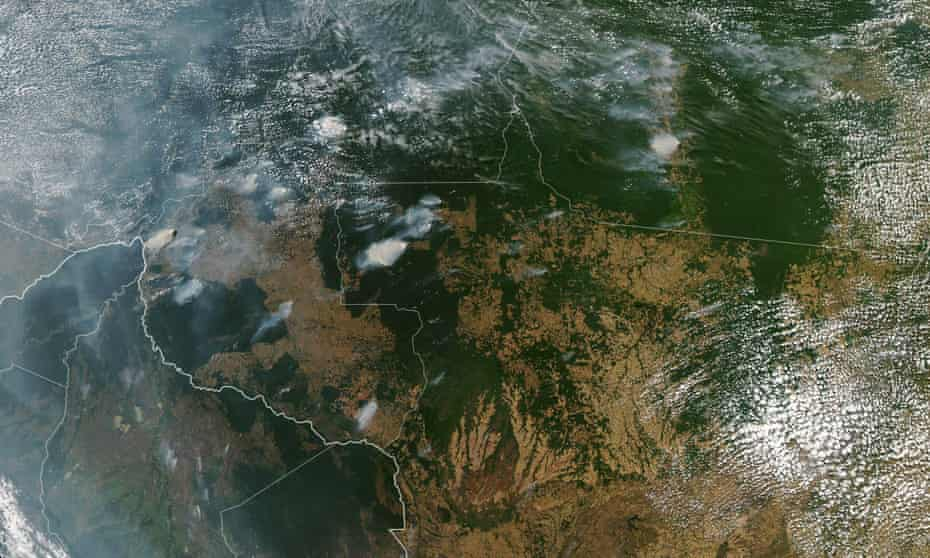 A Nasa images shows several fires burning in Brazilian states