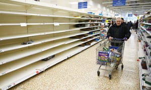 Empty supermarket shelves in London in March 2020.
