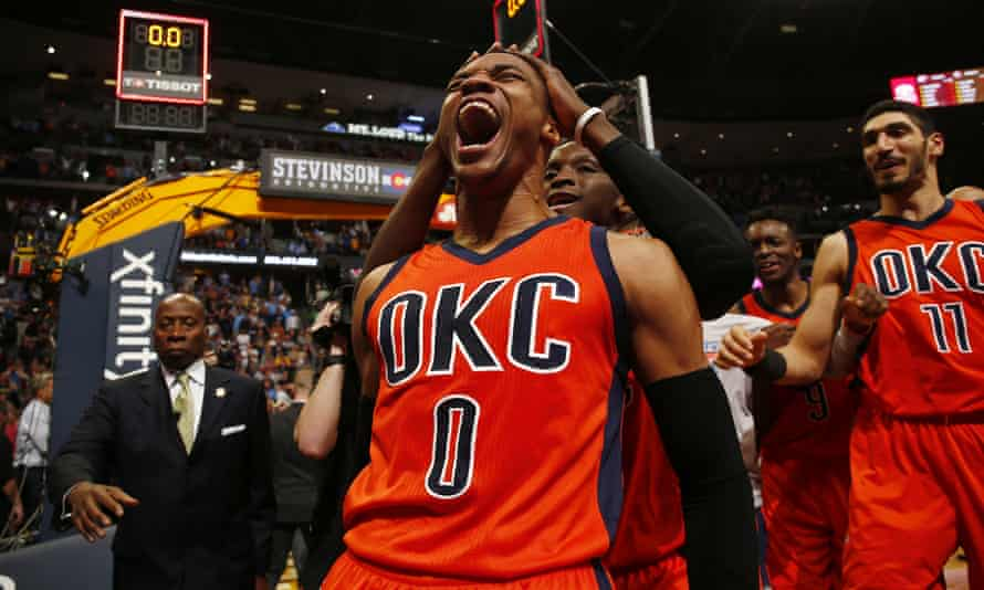Russell Westbrook led the league this season with 31.6 points and added 10.7 rebounds and 10.4 assists per game