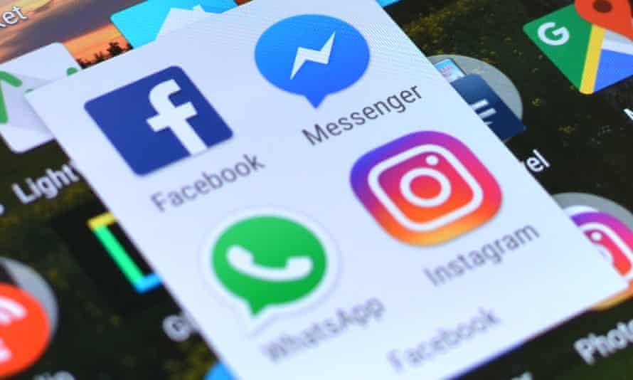 Facebook, Messenger, WhatsApp and Instagram app logos on a screen.