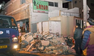 The aftermath of an earthquake in Pohang, South Korea, in November 2017