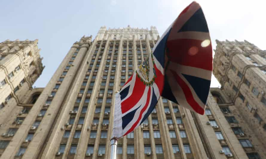 The flag on the car of the British ambassador Deborah Bronnert outside the Russian foreign ministry