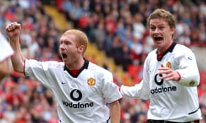 Paul Scholes, left, celebrating a Manchester United goal with Ole Gunnar Solskjær in 2002.