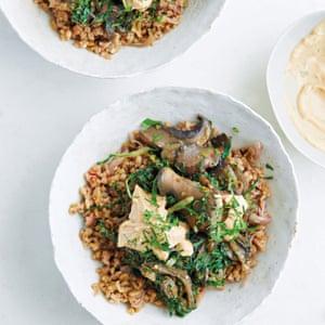 Peter Gordon's vegetarian freekeh, walnut, chard, mushrooms and tahini mascarpone.