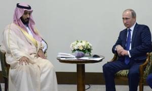 Vladimir Putin and Sheikh Mohammed bin Salman in Sochi, Russia