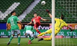 Kai Havertz (centre) scores for Bayer Leverkusen against Werder Bremen on 18 May.