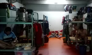 A worker dormitory where quarantine is in effect in Singapore.
