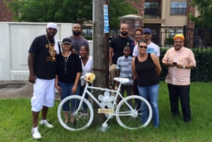 The family of Glen Mathews at the placing of his ghost bike in June.