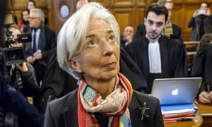 Christine Lagarde appearing in court in Paris on 12 December.