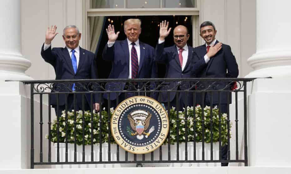 From left, Israeli prime minister Benjamin Netanyahu, US president Donald Trump, Bahrain foreign minister Abdullatif bin Rashid Al Zayani and United Arab Emirates foreign minister Abdullah bin Zayed Al Nahyan at the White House on 15 Sept 2020.
