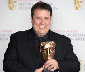 Peter Kay with the Bafta award for Car Share.