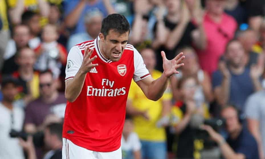 Sokratis Papastathopoulos grimaces after gifting Watford a goal when his pass to his Arsenal teammate Mattéo Guendouzi went horribly awry.