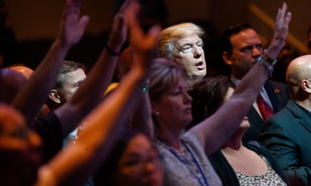 Donald Trump at an evangelical Christian service in 2016.